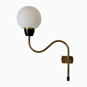 Danish Modern Brass Swing Arm Sconce with Opaline Glass Sphere, 1960s
