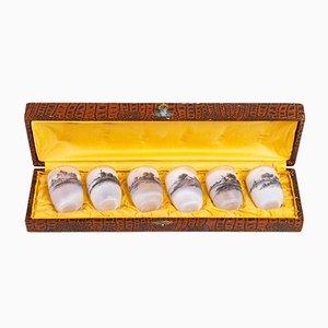 Vasi a calice antichi in vetro inciso acidato di Daum Nancy, set di 6