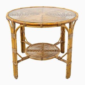 Mesa vintage de bambú, años 70