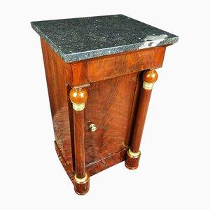 Empire Nachttisch aus Mahagoni & Marmor, 19. Jh