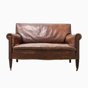 Vintage 2-Seat Sofa in Chocolate-Colored Leather, 1960s