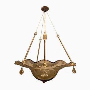 Lámpara colgante vintage de cristal de Murano de Paolo Venini, años 50