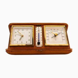 Europe Travel Alarm Clock with Thermometer & Barometer, 1950s