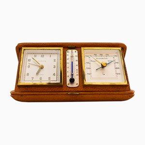 Réveil de Voyage Europe avec Thermomètre & Baromètre, 1950s