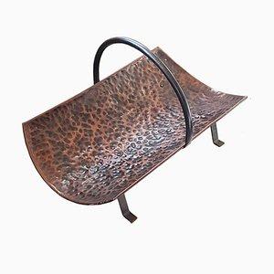 Antique Arts & Crafts Hammered Copper Firewood Log Holder