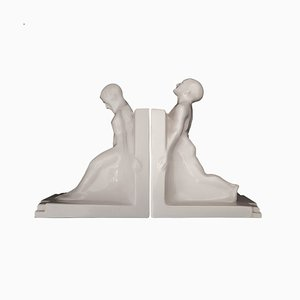Art Deco Buchstützen von Godefridus Boonekamp für Plateelbakkerij Schoonhoven, 1930er, 2er Set