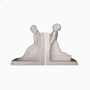 Serre-Livres Art Déco par Godefridus Boonekamp pour Plateelbakkerij Schoonhoven, 1930s, Set de 2