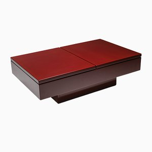 Vintage Red Lacquered Sliding Coffee Table by Jean Claude Mahey, 1980s