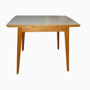 Mid-Century Extendable Wood and Formica Dining Table