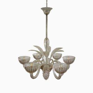 Lampada da soffitto Art Deco in vetro di Murano di Ercole Barovier per Barovier & Toso, anni '30