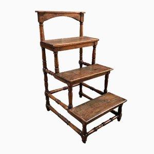 Antique Walnut Library Ladder