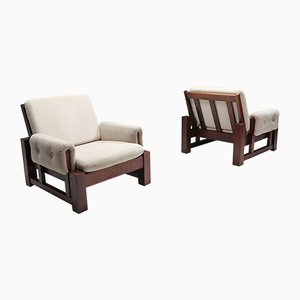 Mid-Century Solid Mahogany Club Chairs, 1960s, Set of 2