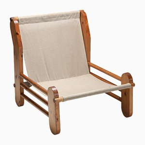 Pinewood and Canvas Lounge Chair, 1970s