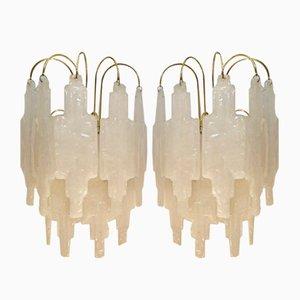 Glas Wandlampen von Poliarte für Mazzega, 1970er, 2er Set