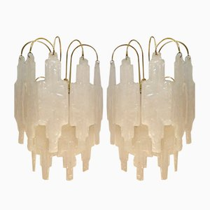 Glass Sconces by Poliarte for Mazzega, 1970s, Set of 2