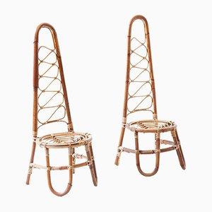 Italienische Rattan Stühle, 1950er, 4er Set