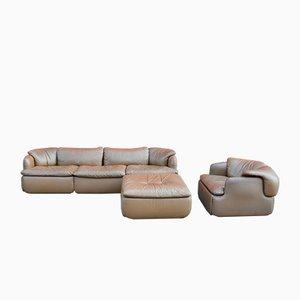Set da salotto Confidential Sofa, Ottomana e poltrona di Alberto Rosselli per Saporiti Italia, anni '70, set di 3