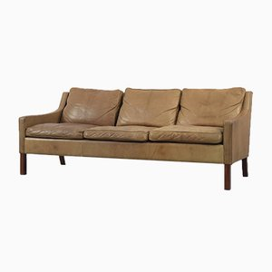Vintage Swedish Patinated Cognac Leather Sofa from OPE, 1960s