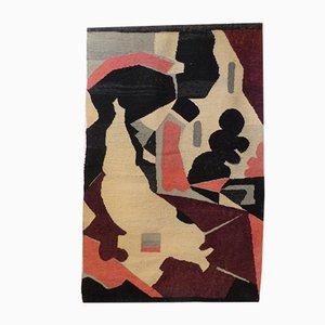 Handgewebter Design Wandteppich von W.Buchta Karlsruhe 1950 - 1959