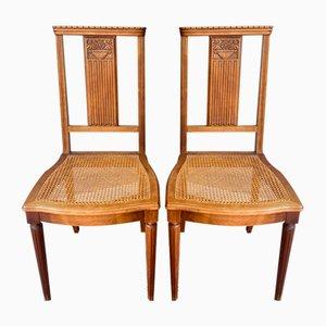 Antique Art Nouveau Blond Wood Dining Chairs, Set of 2