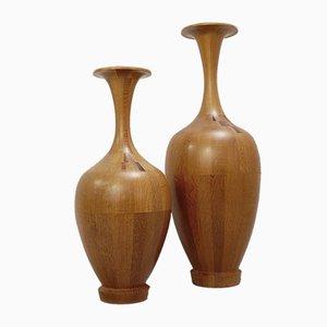 Belgian Wooden Vases from De Coene, 1960s, Set of 2