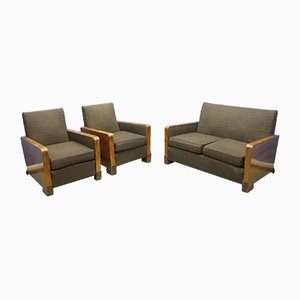 Art Deco Sofa & Armchairs, 1920s, Set of 3