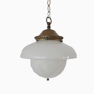 German Bronze and Opaline Glass Pendant Lamp, 1940s