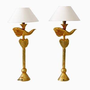 Tischlampen aus Vergoldeter Bronze Dove von Pierre Casenove für Fondica, Frankreich, 1980er, 2er Set
