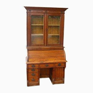 Antique Oak Rolltop Desk with Bookcase, 1900s