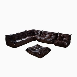 Vintage Brown Leather Togo Living Room Set by Michel Ducaroy for Ligne Roset, 1980s