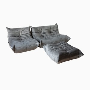 Vintage Gray Velvet Togo Living Room Set by Michel Ducaroy for Ligne Roset, 1980s
