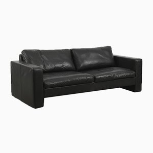 Modern Black Leather Conseta Sofa by F. W. Möller for Cor, 1980s