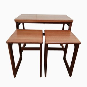 Mid-Century Teak Swivel Top Nesting Tables by Tom Robertson for McIntosh, 1960s
