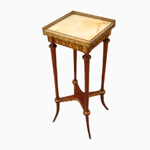 French Empire Mahogany Side or Flower Table with Marble Top, 1800s