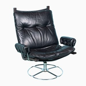 Vintage Black Leather and Chrome Swivel Lounge Chair, 1960s