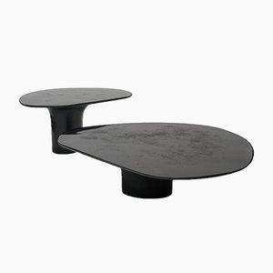 Set de Table Cocktail NR Black édition Sculpté à la Main en Métal Bas par Privatiselectionem