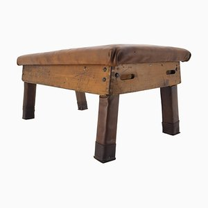 Industrial Leather Gymnastic Bench Seat, 1950s