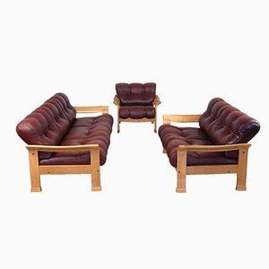 Juego de sofás de tres piezas danés vintage de cuero marrón