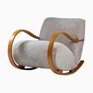 Mid-Century Swedish Sheepskin Rocking Chair Attributed to Gemla, 1950s