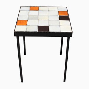 Mid-Century Ceramic Tiled Side Table by Mado Jolain, 1950s