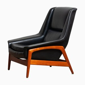 Profil Lounge Chair in Black Leather & Teak by Folke Ohlsson for Dux, 1960s