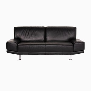 Black Leather 2-Seat Sofa from Musterring