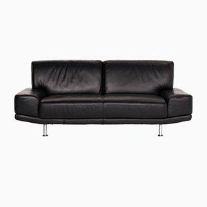 Sofá de dos plazas de cuero negro de Musterring