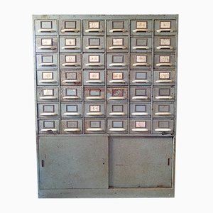 Industrial Filing & Index Card Cabinet in Metal, Czechoslovakia, 1960s