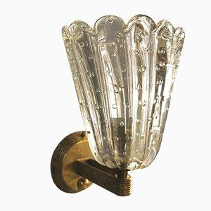 Lampade da parete Mid-Century in cristallo e ottone di Barovier & Toso, Italia, anni '60, set di 4