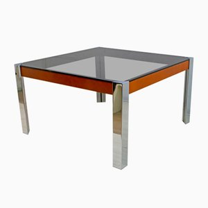 Mid-Century Italian Chrome Metal and leather Dining Table by Willy Rizzo, 1970s