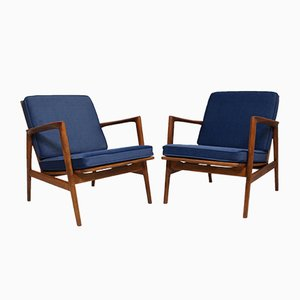 Blue Lounge Chairs by Stefan Swarzedzkie for Gościcińskie Fabryki Mebli, 1960s, Set of 2