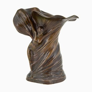 Jugendstil Bronze Tänzerin Loie Fuller Vase von Hans Stoltenberg Lerche für Louchet Foundry, 1900er