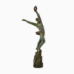 Art Deco Bronze Athlete with Laurel Wreath Sculpture by Pierre Le Faguays, 1929