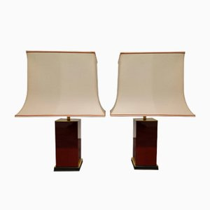 Red Lacquered Table Lamps by Jean Claude Mahey, 1970s, Set of 2